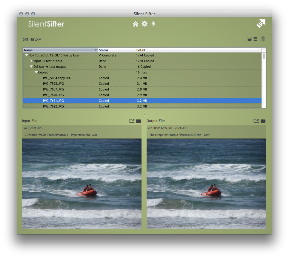 Silent Sifter 2.9 Input, Output, Duplicate Comparisons